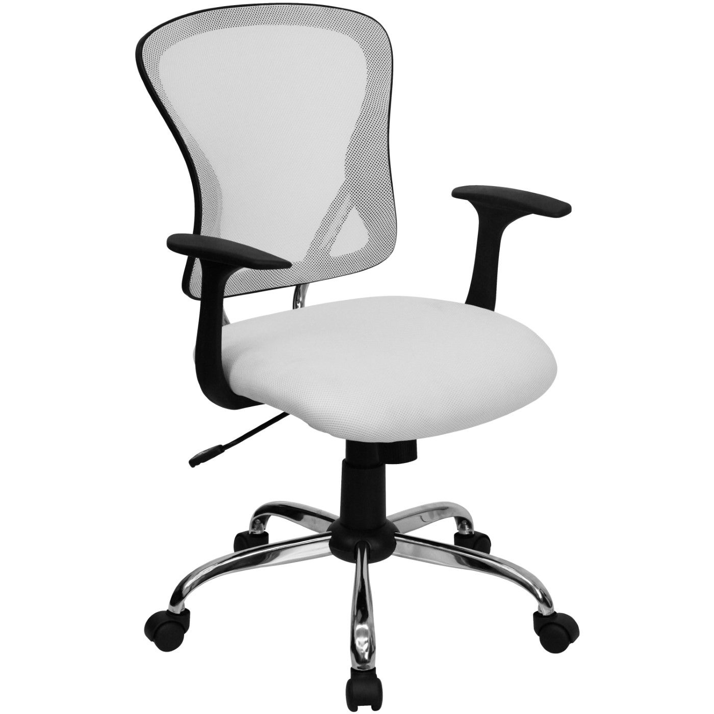 Mid-Back White Mesh Swivel Task Office Chair with Chrome Base and Arms