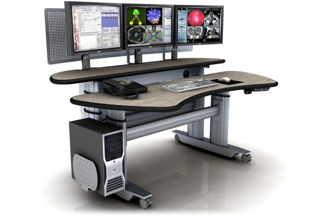 "Ergonomic Home Radiology Table Desk #MT6-BL-E-L3. Dimensions: 72"" x 45""."