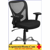 <b><font color=#c60>ERGONOMIC HOME TOUGH ENOUGH SERIES 400 LB CAPACITY BIG & TALL BLACK MESH CHAIR. SWIVEL TASK CHAIR W/HEIGHT ADJUSTABLE  BACK & ARM #EH-GO-2032-GG. 50% OFF: </font></b>