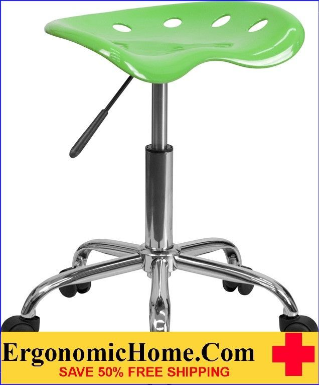 Ergonomic Home Vibrant Apple Green Tractor Seat and Chrome Stool .