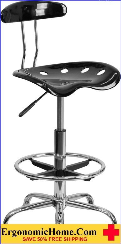 Ergonomic Home Vibrant Black and Chrome Drafting Stool with Tractor Seat .