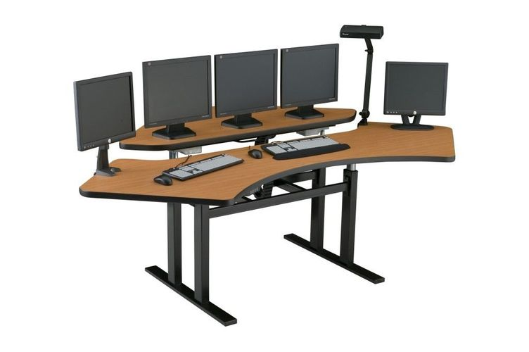 CONTROL ROOM FURNITURE. CORNER COMPUTER DESK #CNR-7273. MADE IN USA. TAA & BAA COMPLIANT.</b></font>