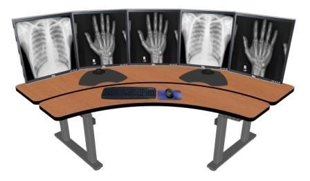 "ADJUSTABLE RADIOLOGY DESK. PACS WORKSTATION. DIMENSIONS: 71"" X 32"". ITEM #PACS-ERO72:"