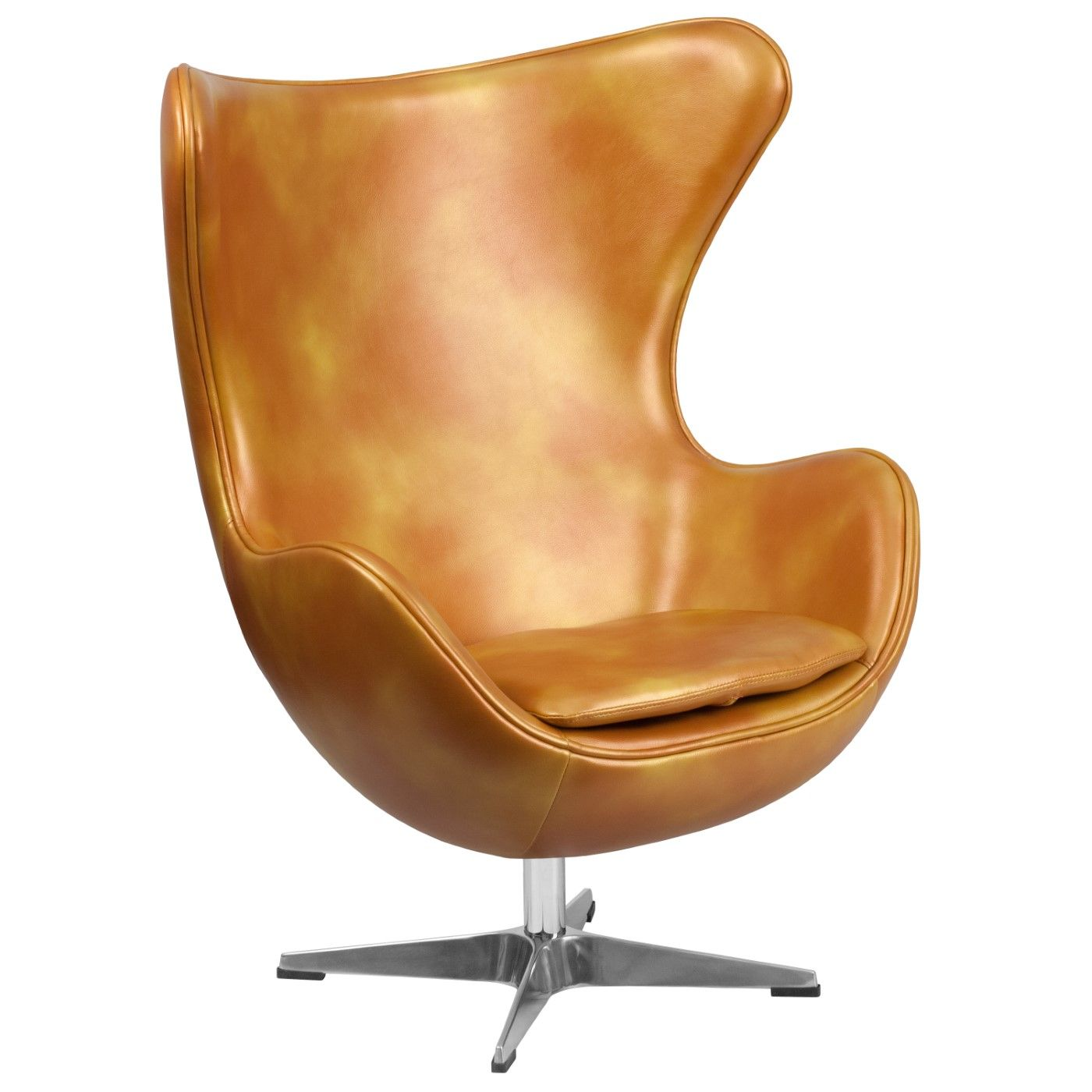 Gold LeatherSoft Egg Chair with Tilt-Lock Mechanism
