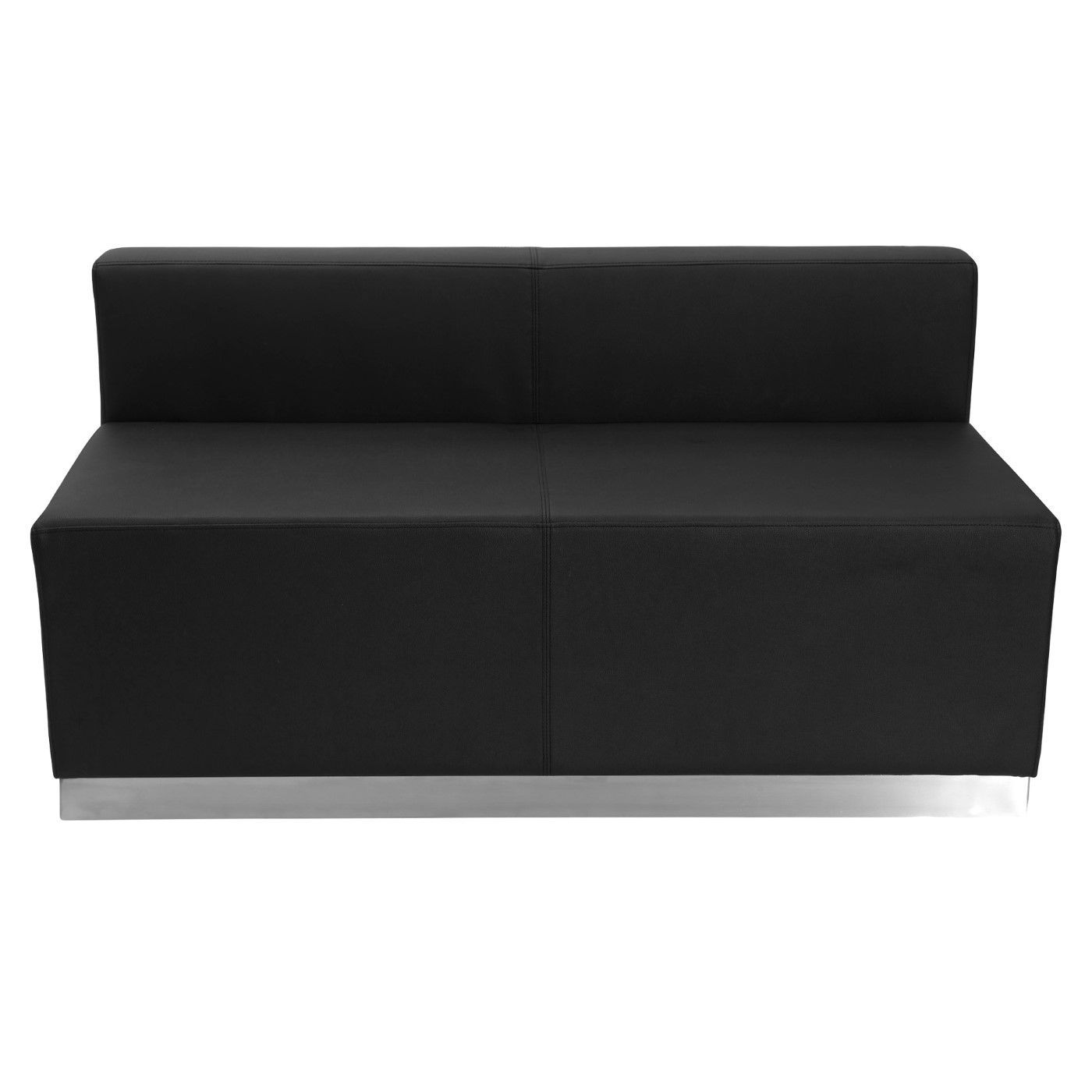 TOUGH ENOUGH Alon Series Black LeatherSoft Loveseat with Brushed Stainless Steel Base