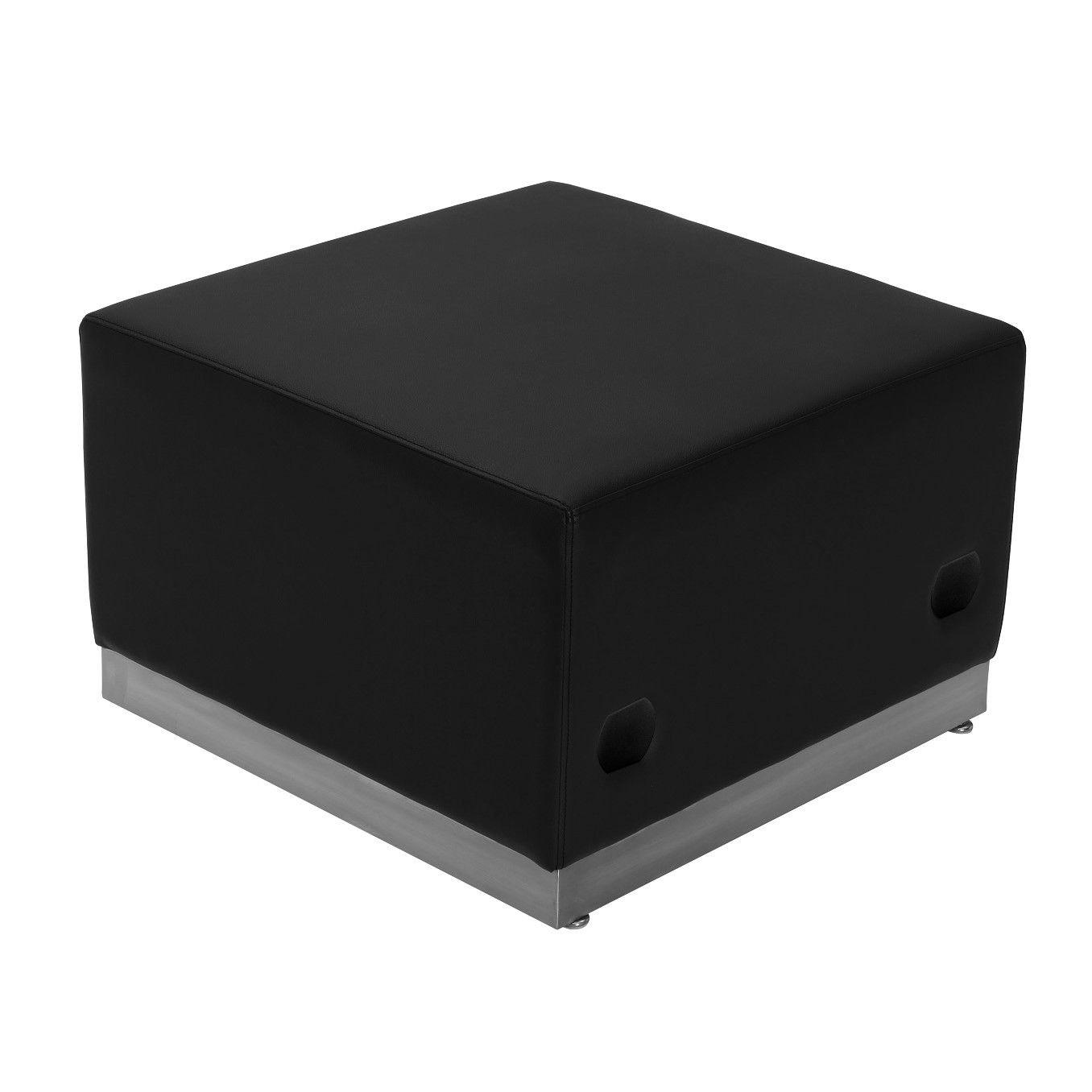 TOUGH ENOUGH Alon Series Black LeatherSoft Ottoman with Brushed Stainless Steel Base