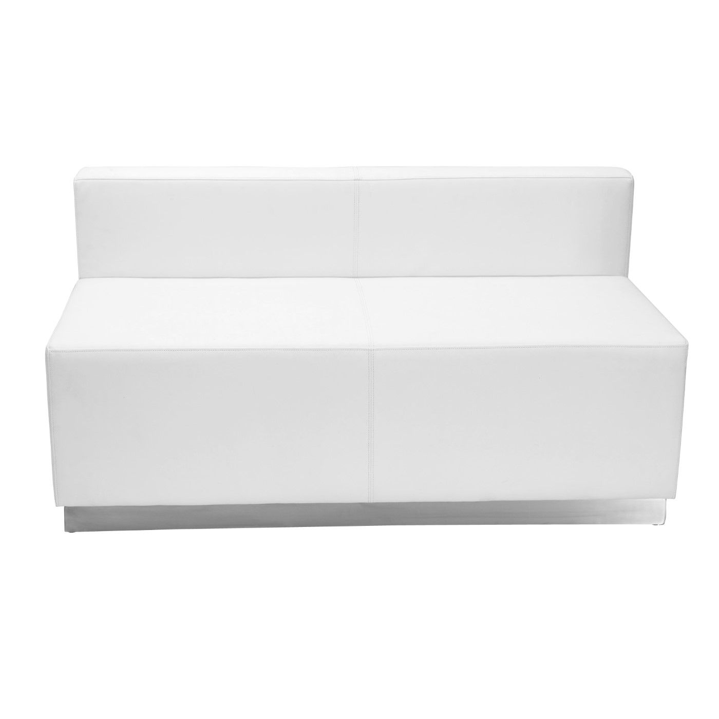 TOUGH ENOUGH Alon Series Melrose White LeatherSoft Loveseat with Brushed Stainless Steel Base