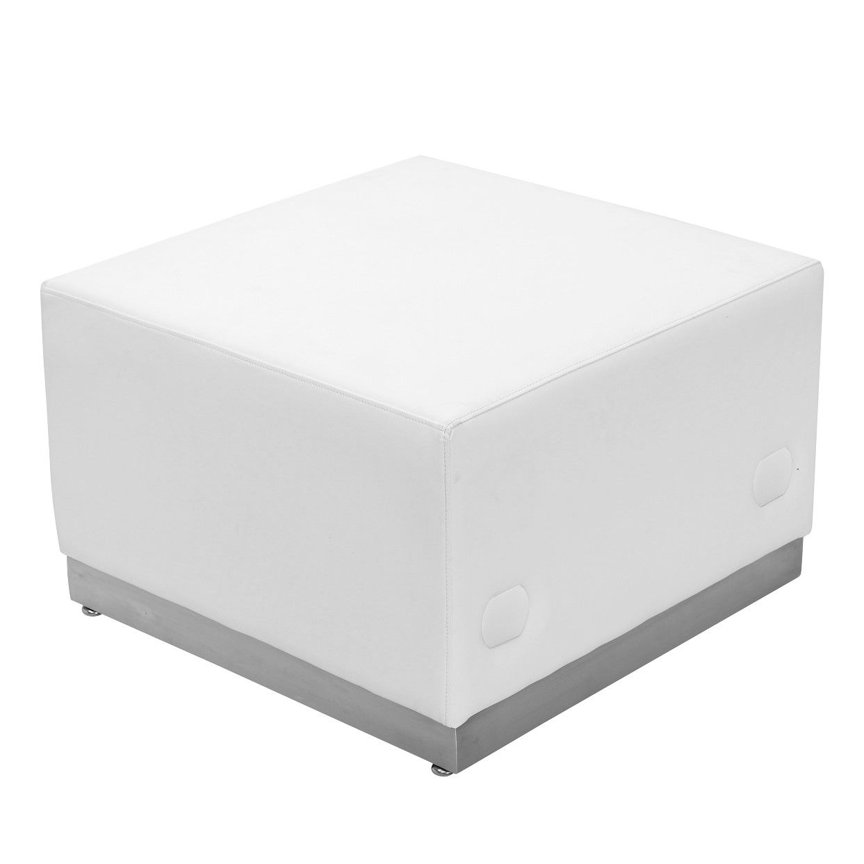 TOUGH ENOUGH Alon Series Melrose White LeatherSoft Ottoman with Brushed Stainless Steel Base