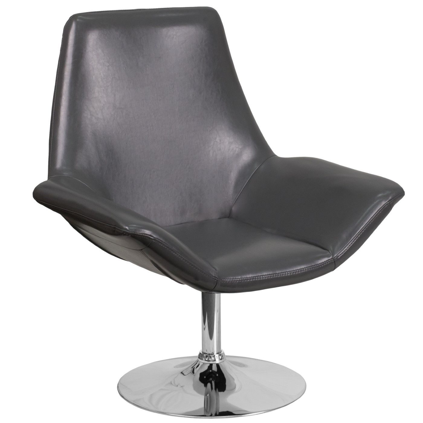 TOUGH ENOUGH Sabrina Series Gray LeatherSoft Side Reception Chair