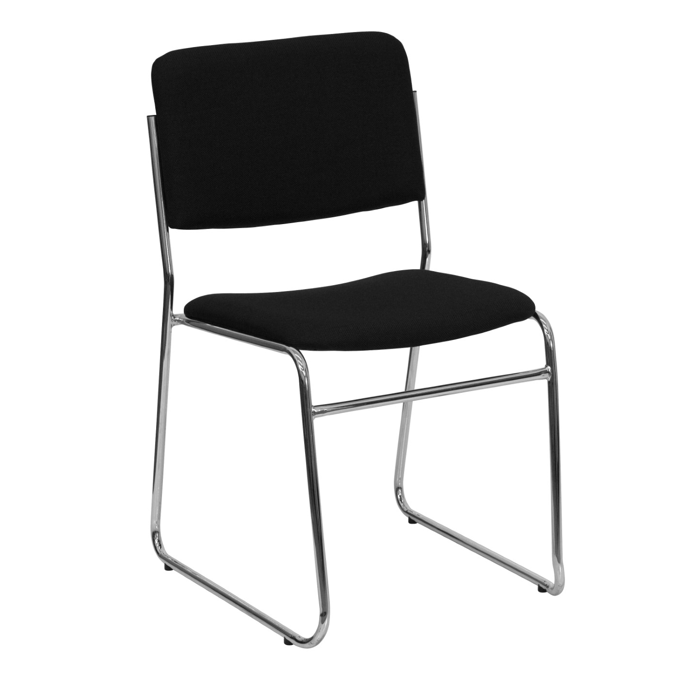 TOUGH ENOUGH Series 1000 lb. Capacity Black Fabric High Density Stacking Chair with Chrome Sled Base