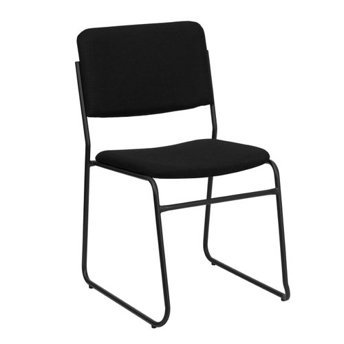 TOUGH ENOUGH Series 1000 lb. Capacity High Density Black Fabric Stacking Chair with Sled Base