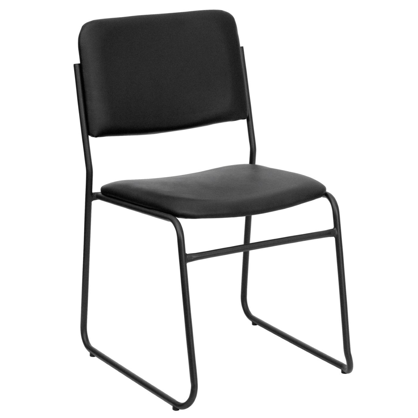 TOUGH ENOUGH Series 1000 lb. Capacity High Density Black Vinyl Stacking Chair with Sled Base