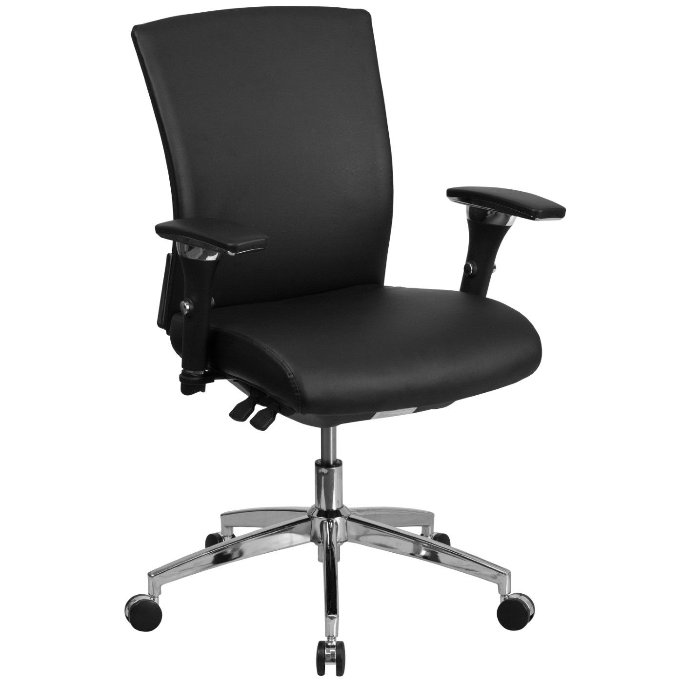 TOUGH ENOUGH Series 24/7 Intensive Use 300 lb. Rated Black LeatherSoft Multifunction Ergonomic Office Chair with Seat Slider