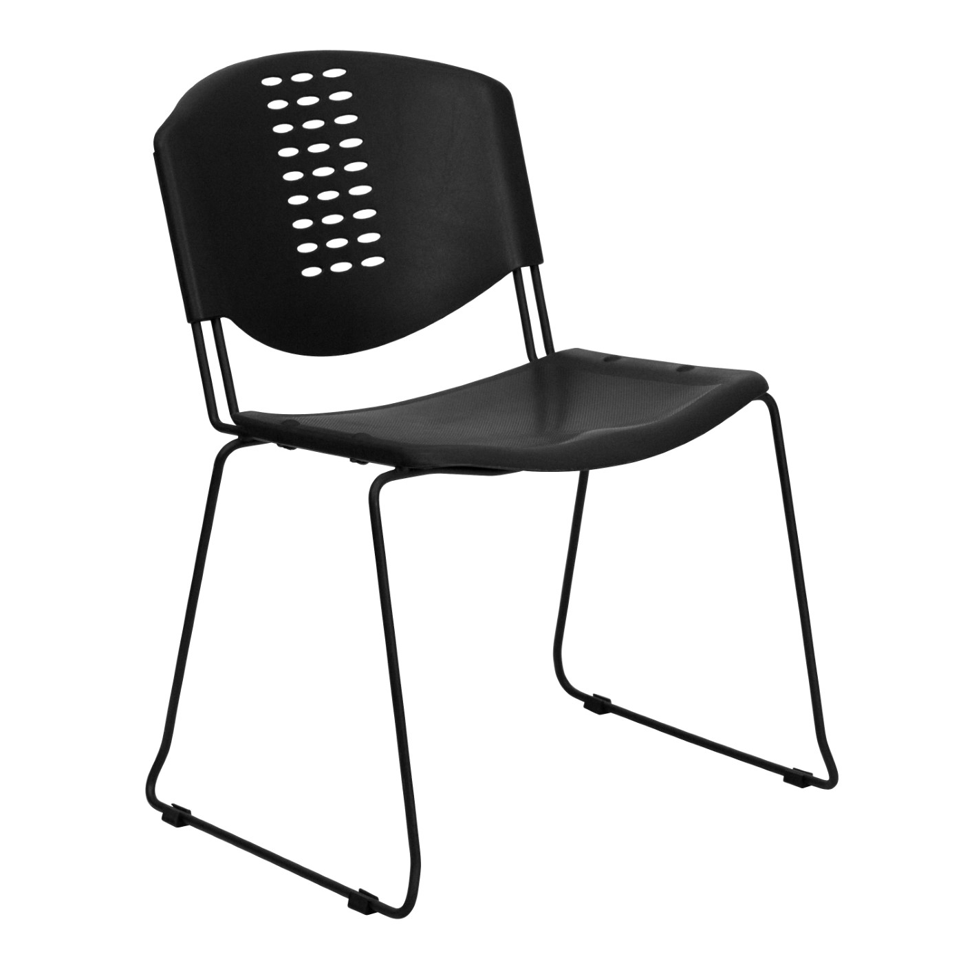 TOUGH ENOUGH Series 400 lb. Capacity Black Plastic Stack Chair with Black Frame