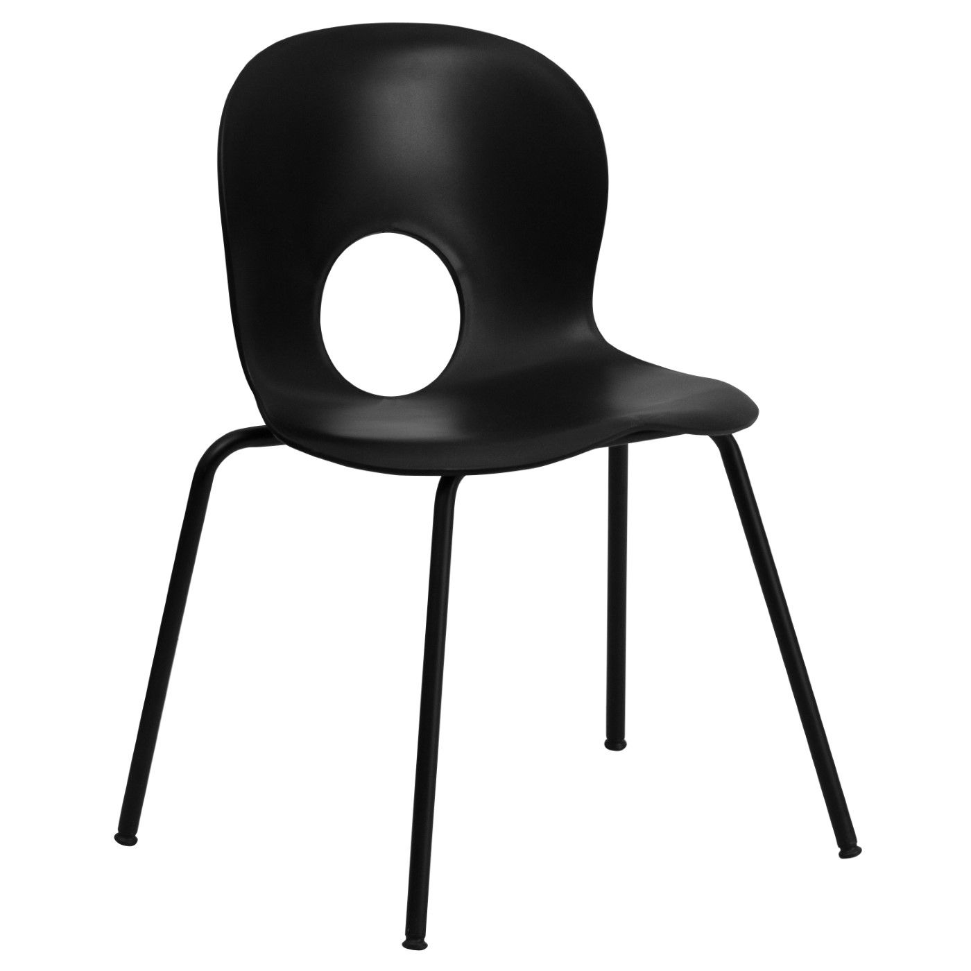 TOUGH ENOUGH Series 770 lb. Capacity Designer Black Plastic Stack Chair with Black Frame