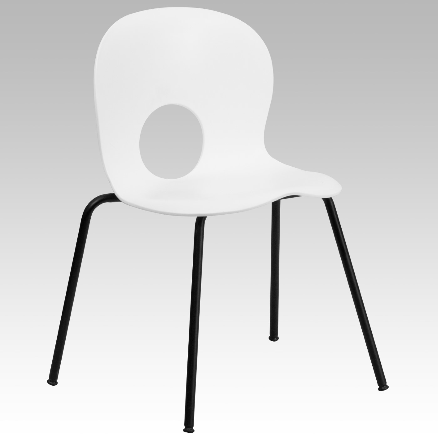 TOUGH ENOUGH Series 770 lb. Capacity Designer White Plastic Stack Chair with Black Frame