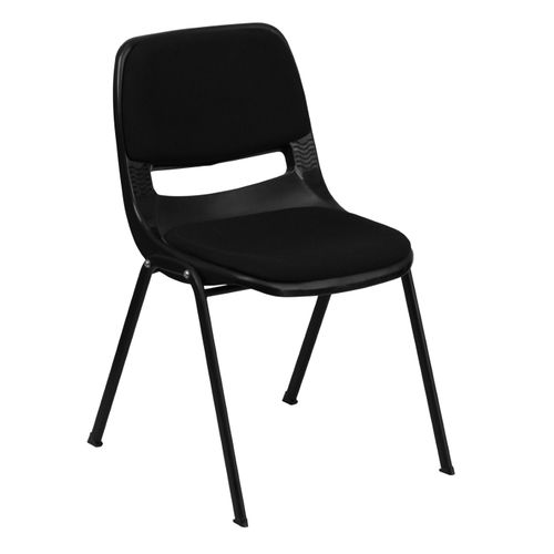 TOUGH ENOUGH Series 880 lb. Capacity Black Padded Ergonomic Shell Stack Chair with Black Frame