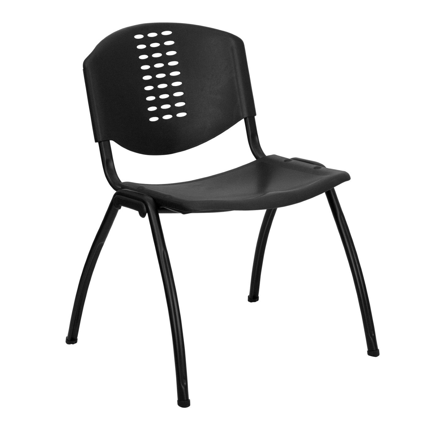 TOUGH ENOUGH Series 880 lb. Capacity Black Plastic Stack Chair with Oval Cutout Back and Black Frame