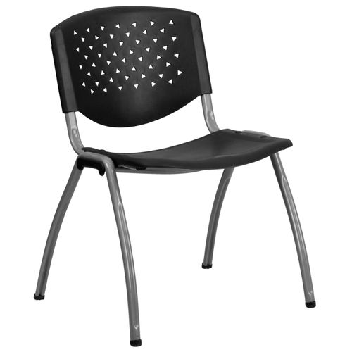 TOUGH ENOUGH Series 880 lb. Capacity Black Plastic Stack Chair with Titanium Gray Powder Coated Frame