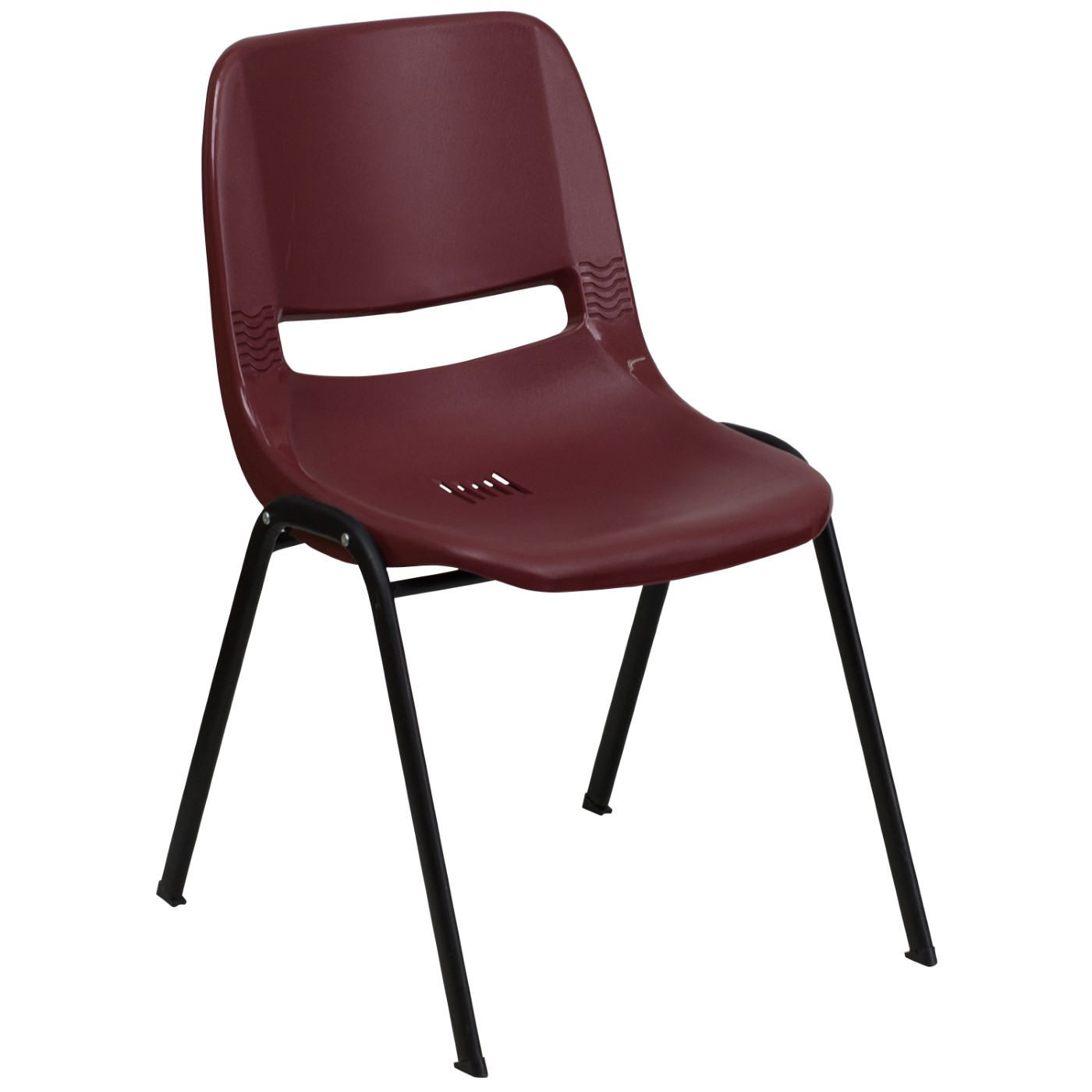 TOUGH ENOUGH Series 880 lb. Capacity Burgundy Ergonomic Shell Stack Chair with Black Frame