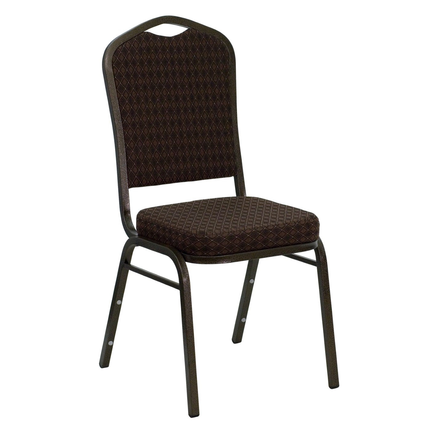 TOUGH ENOUGH Series Crown Back Stacking Banquet Chair in Brown Patterned Fabric - Gold Vein Frame