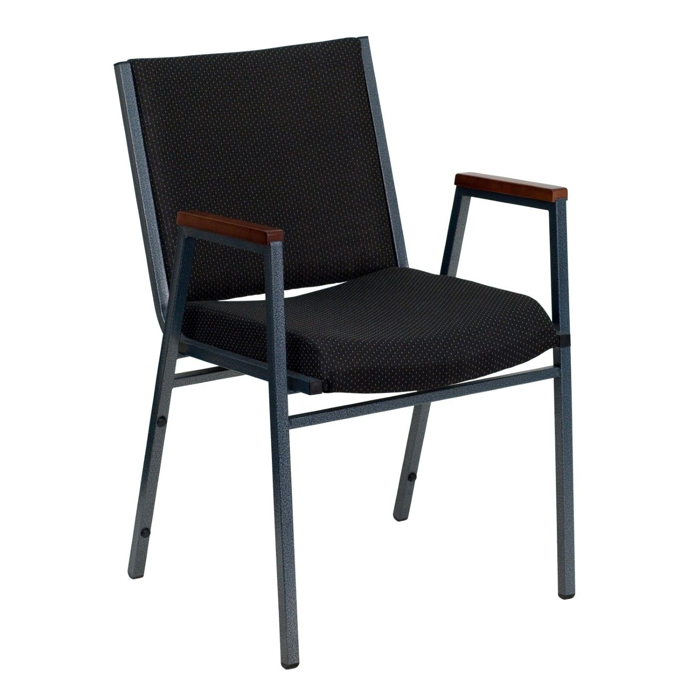 TOUGH ENOUGH Series Heavy Duty Black Dot Fabric Stack Chair with Arms