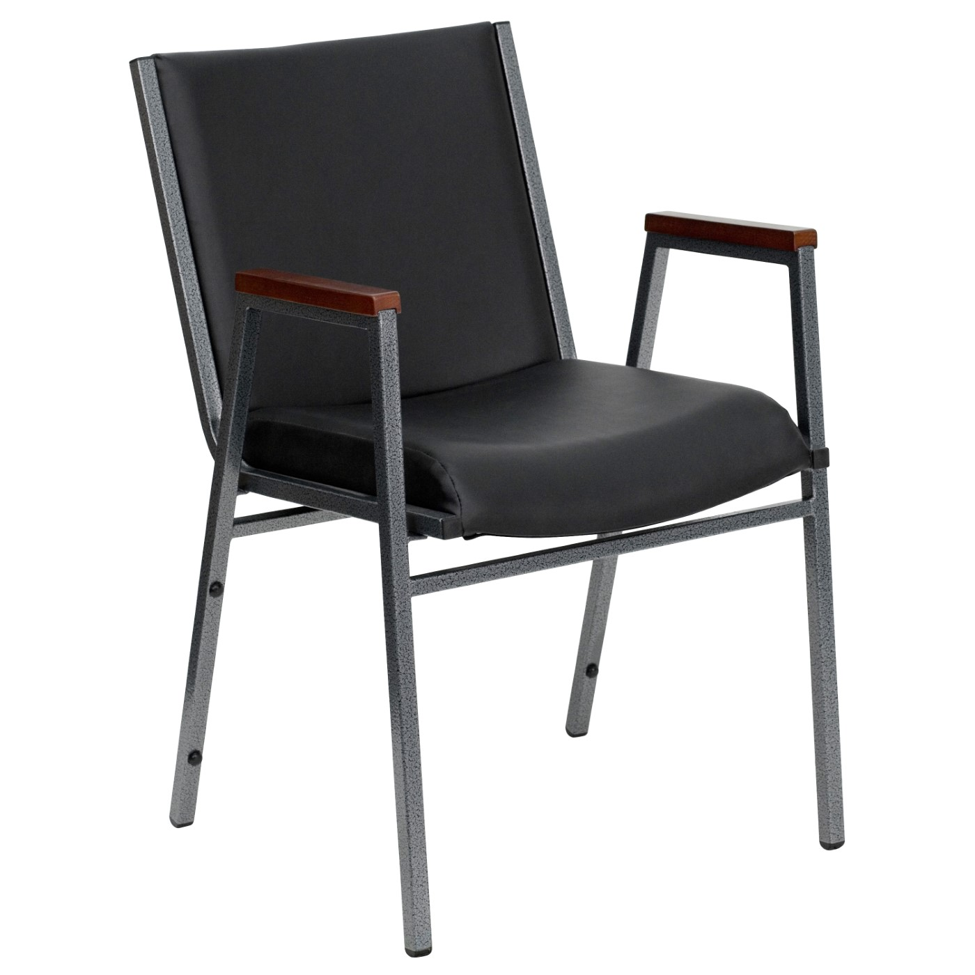 TOUGH ENOUGH Series Heavy Duty Black Vinyl Stack Chair with Arms