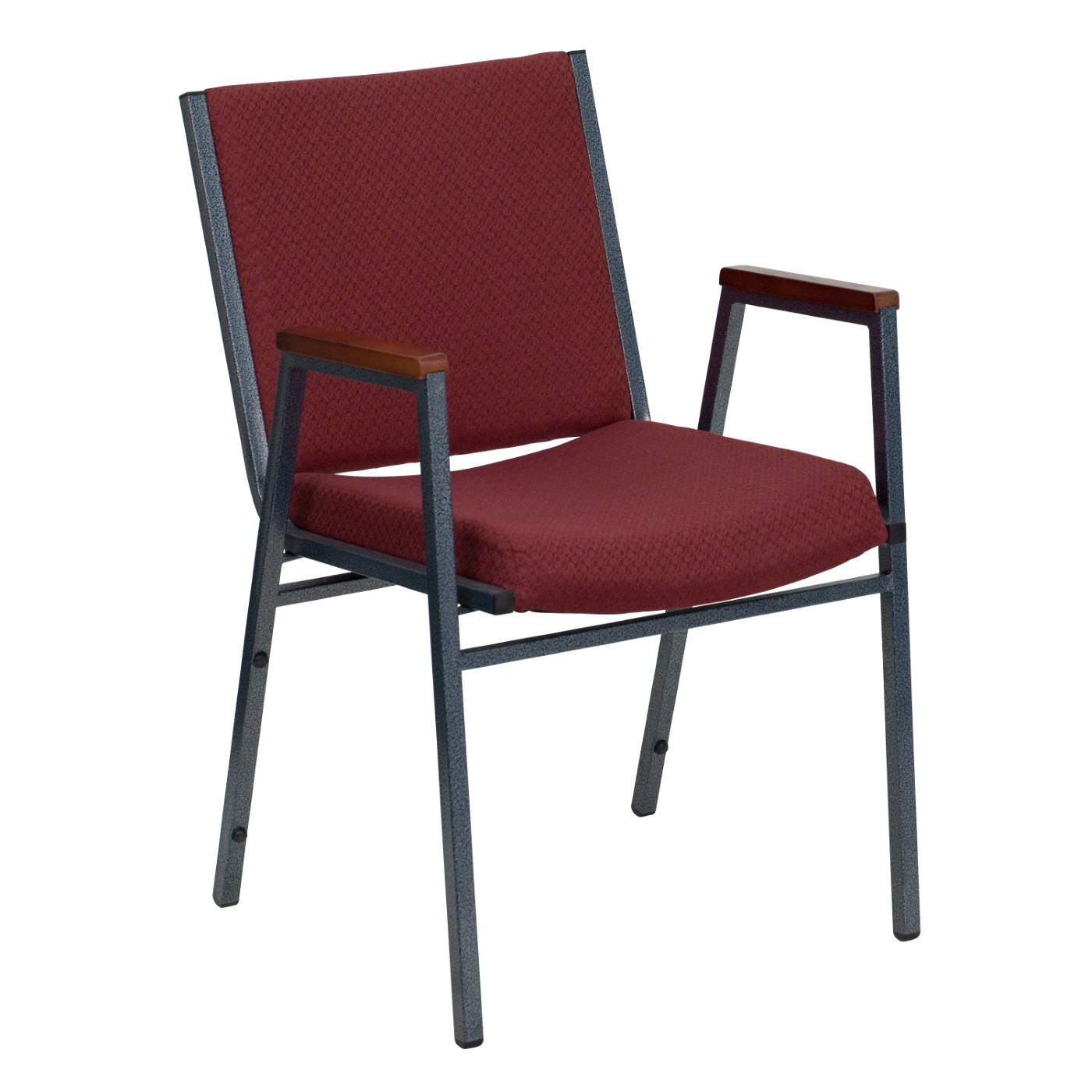 TOUGH ENOUGH Series Heavy Duty Burgundy Patterned Fabric Stack Chair with Arms
