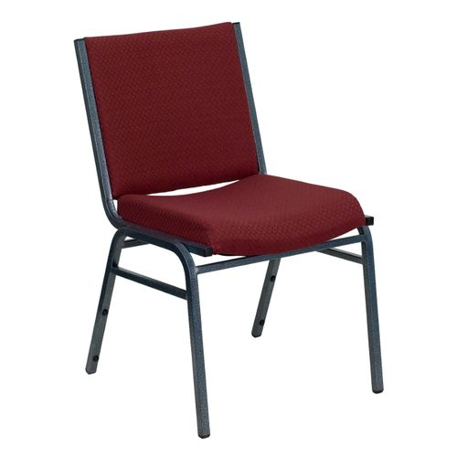 TOUGH ENOUGH Series Heavy Duty Burgundy Patterned Fabric Stack Chair