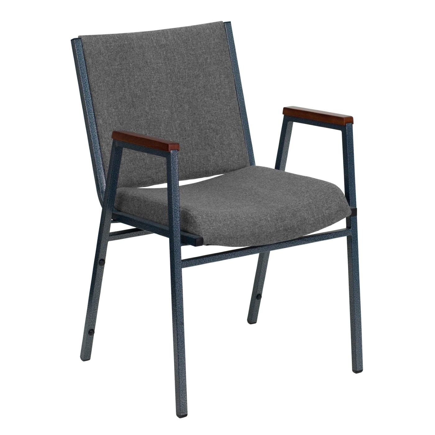 TOUGH ENOUGH Series Heavy Duty Gray Fabric Stack Chair with Arms