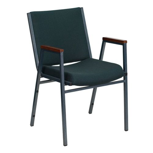TOUGH ENOUGH Series Heavy Duty Green Patterned Fabric Stack Chair with Arms