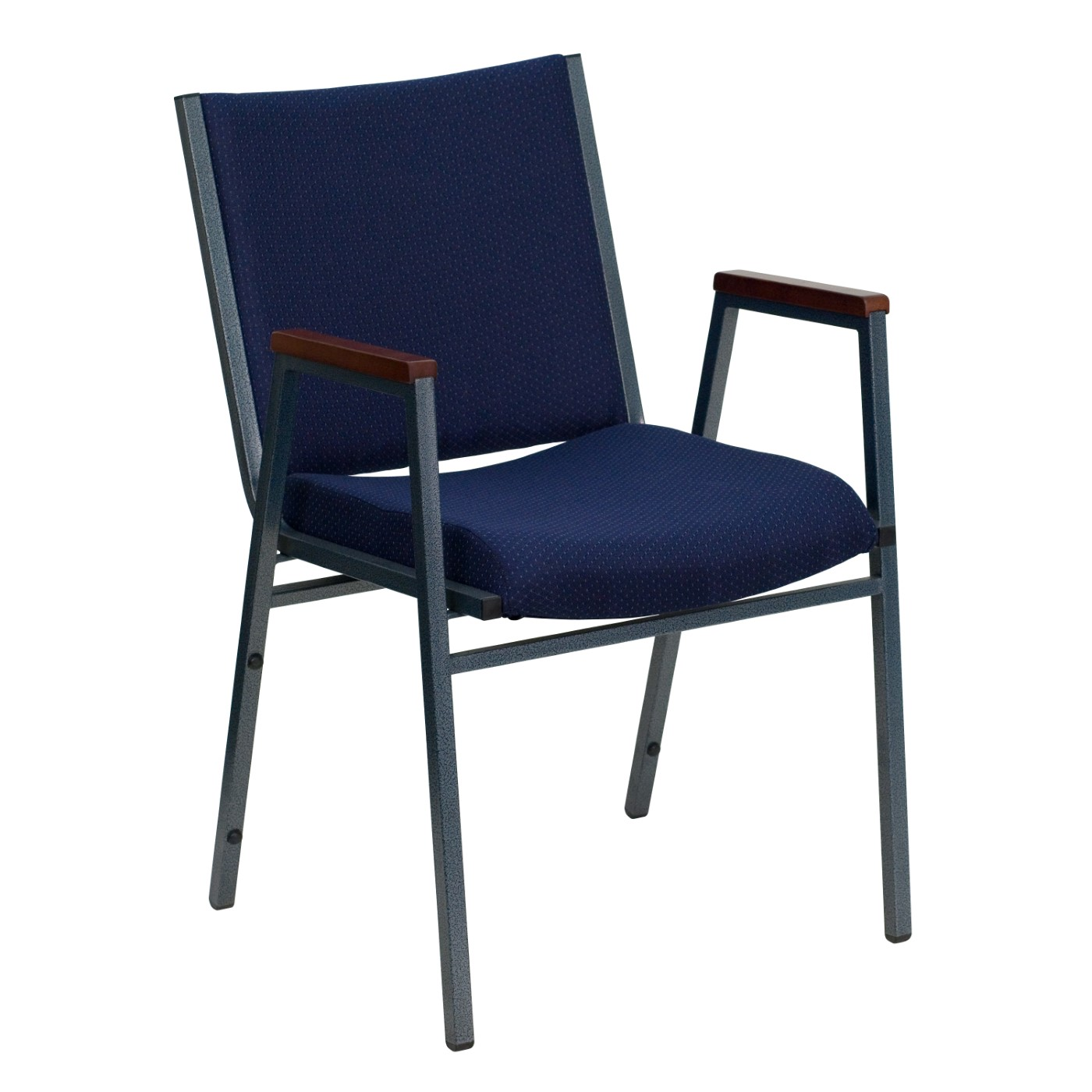 TOUGH ENOUGH Series Heavy Duty Navy Blue Dot Fabric Stack Chair with Arms