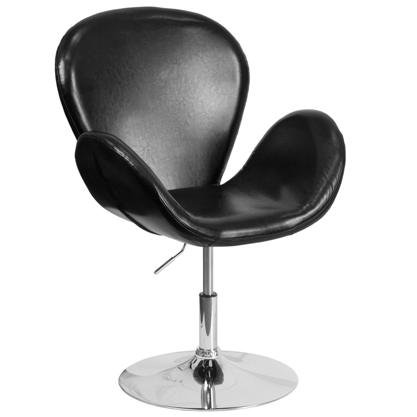 TOUGH ENOUGH Trestron Series Black LeatherSoft Side Reception Chair with Adjustable Height Seat