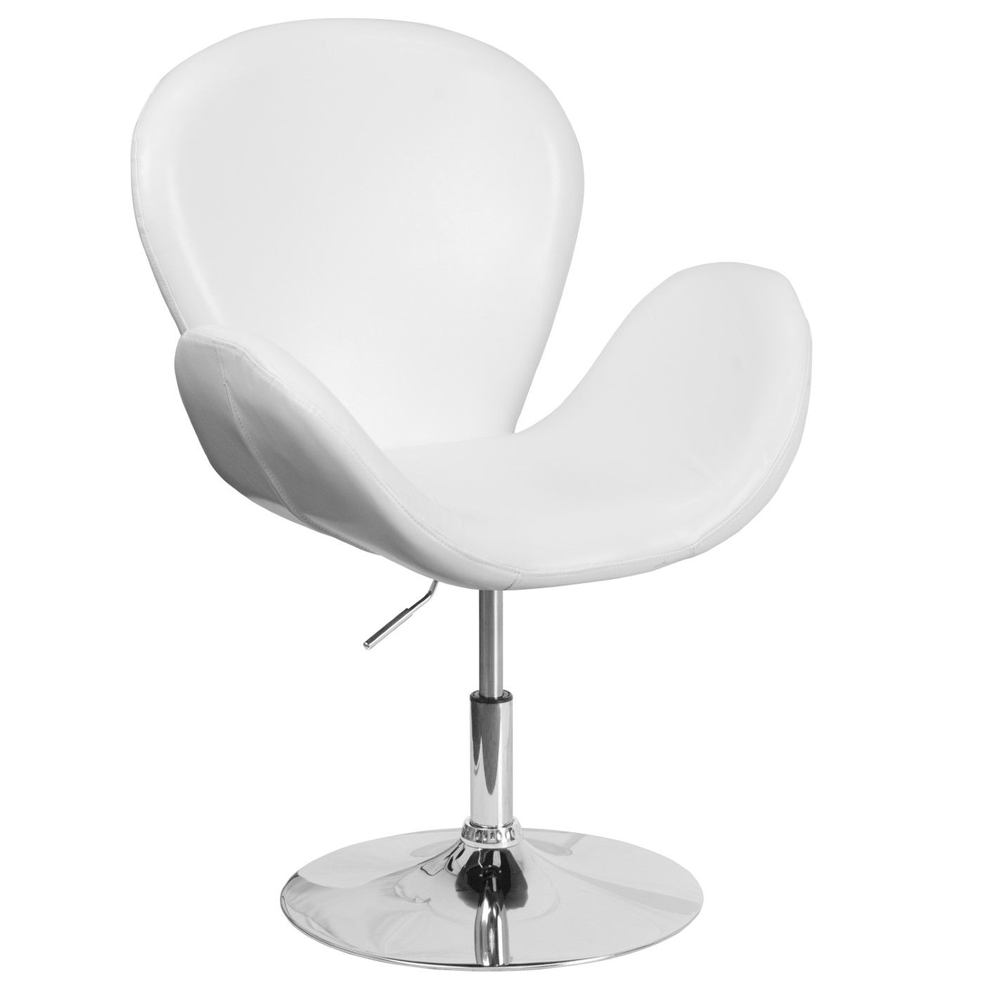 TOUGH ENOUGH Trestron Series White LeatherSoft Side Reception Chair with Adjustable Height Seat