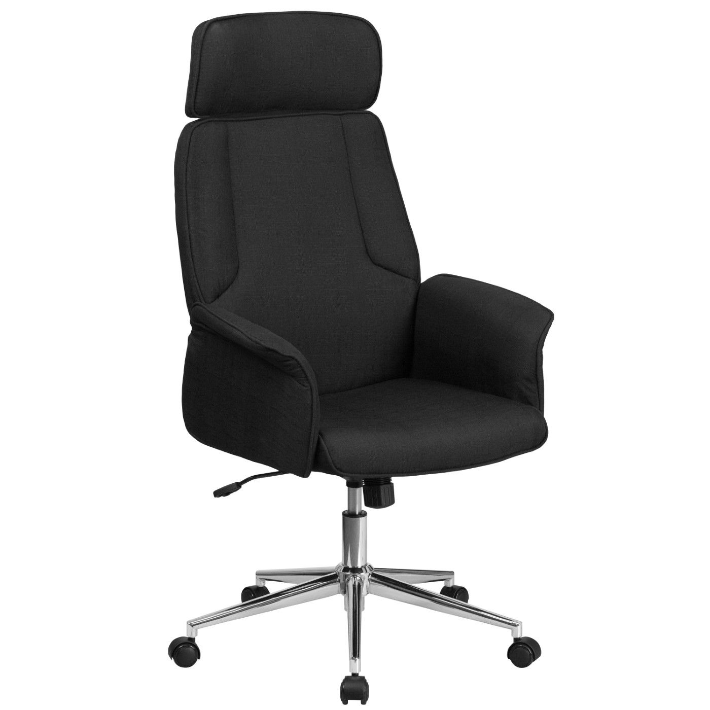 High Back Black Fabric Executive Swivel Office Chair with Chrome Base and Fully Upholstered Arms
