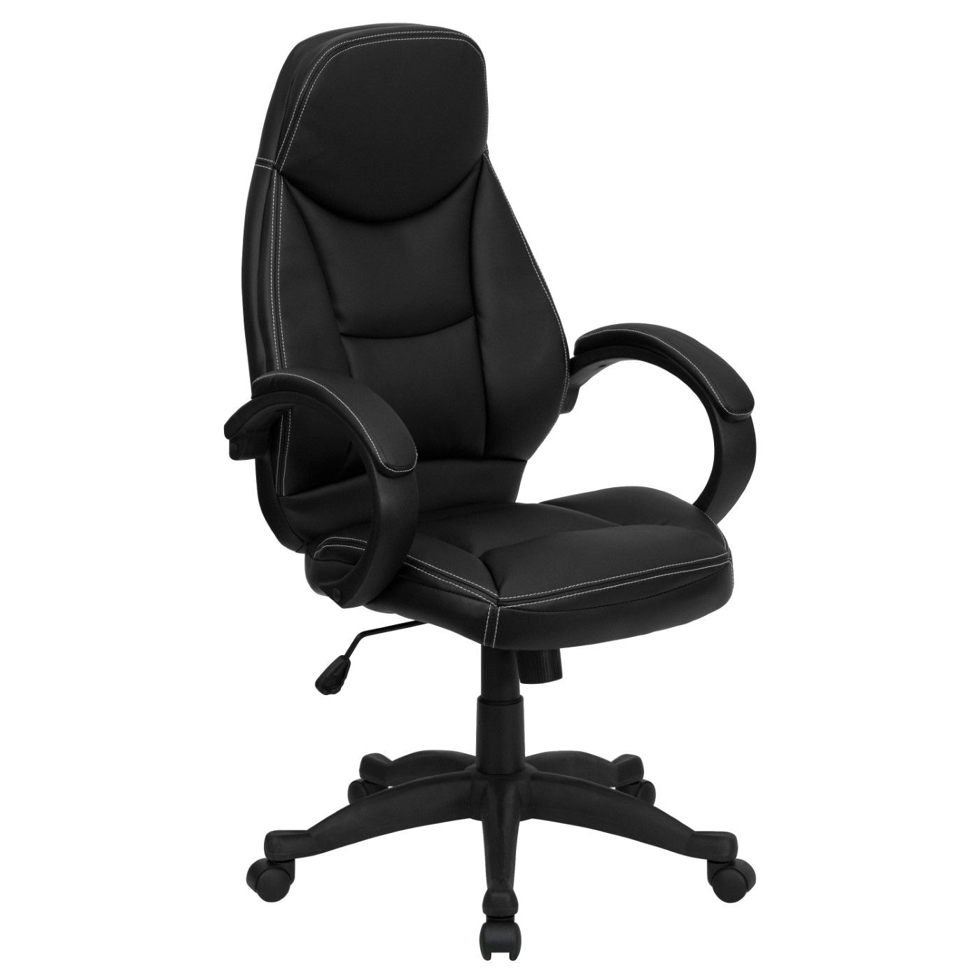 High Back Black LeatherSoft Contemporary Executive Swivel Ergonomic Office Chair with Curved Back and Loop Arms