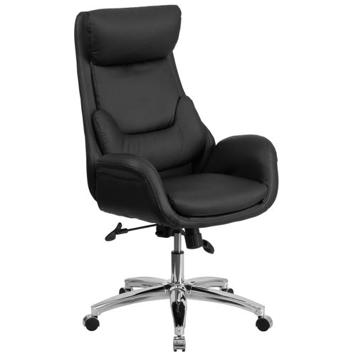 High Back Black LeatherSoft Executive Swivel Office Chair with Lumbar Pillow and Arms