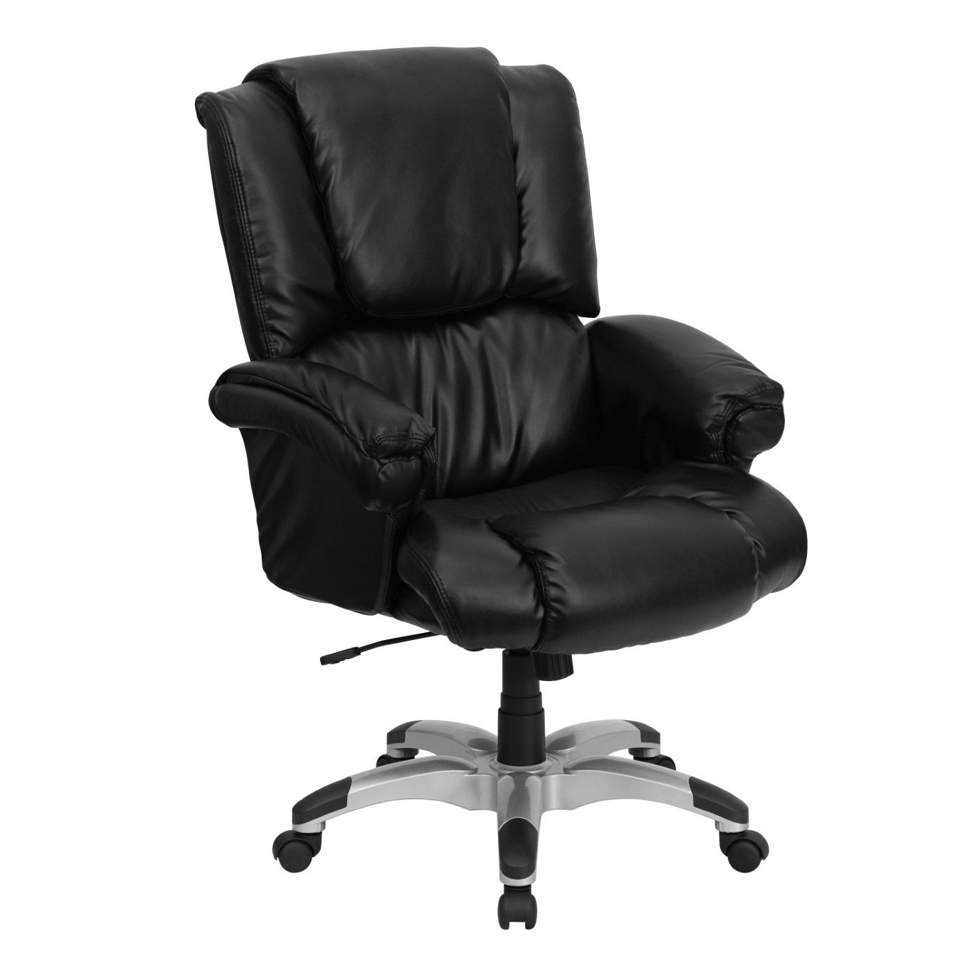 High Back Black LeatherSoft OverStuffed Executive Swivel Ergonomic Office Chair with Fully Upholstered Arms