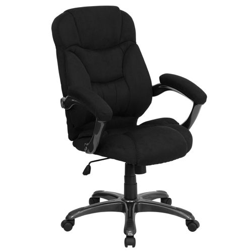 High Back Black Microfiber Contemporary Executive Swivel Ergonomic Office Chair with Arms