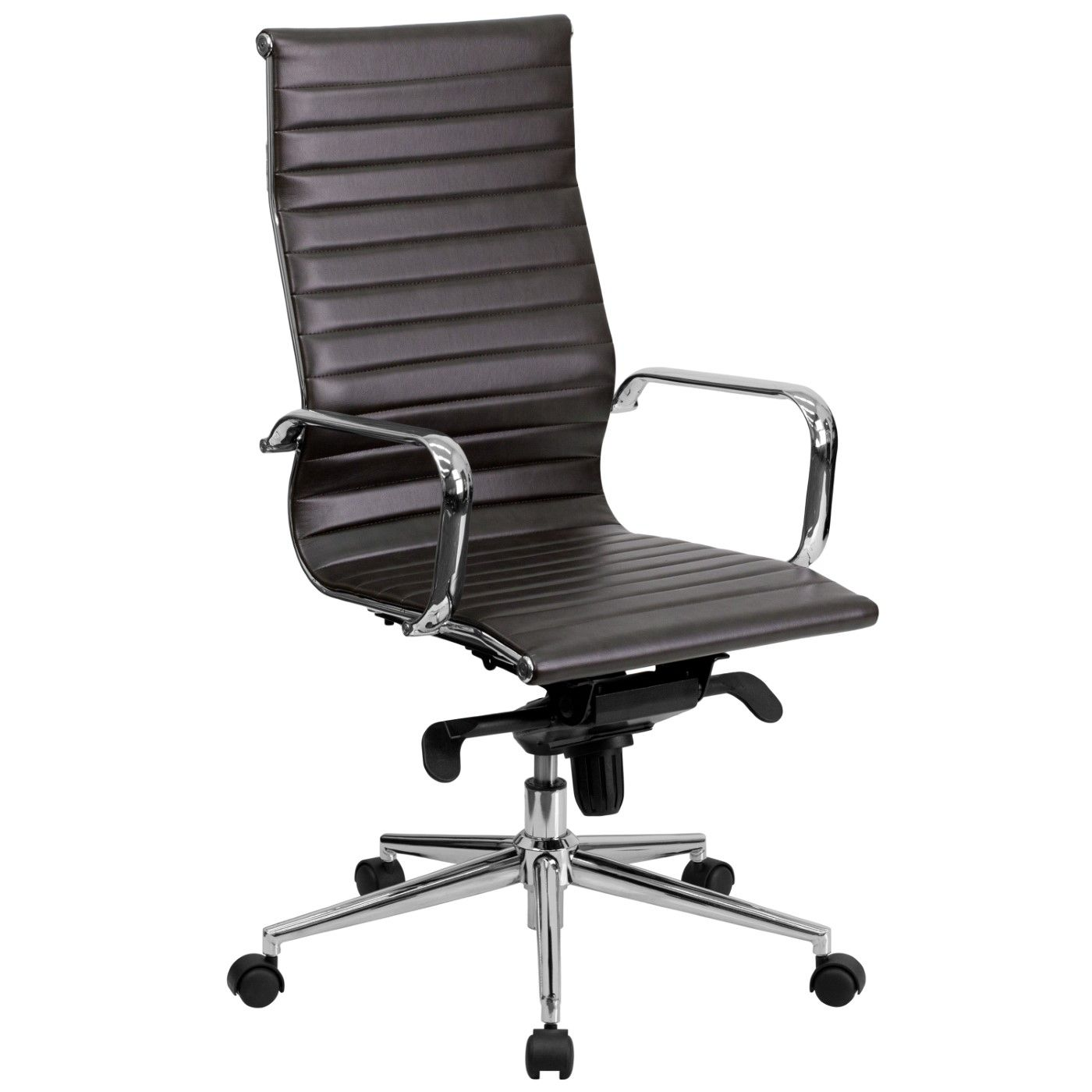 High Back Brown Ribbed LeatherSoft Executive Swivel Office Chair with Knee-Tilt Control and Arms