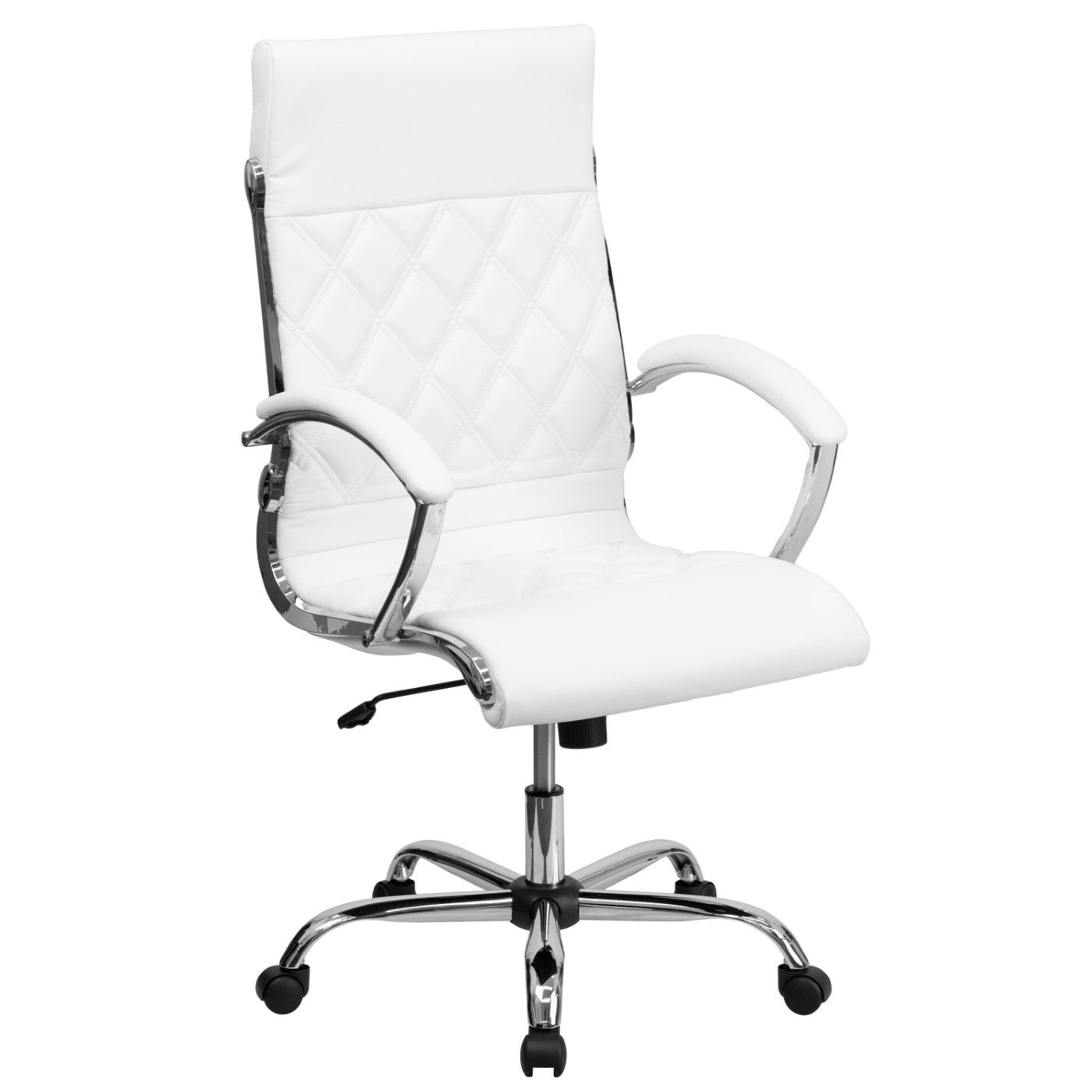 High Back Designer Quilted White LeatherSoft Executive Swivel Office Chair with Chrome Base and Arms