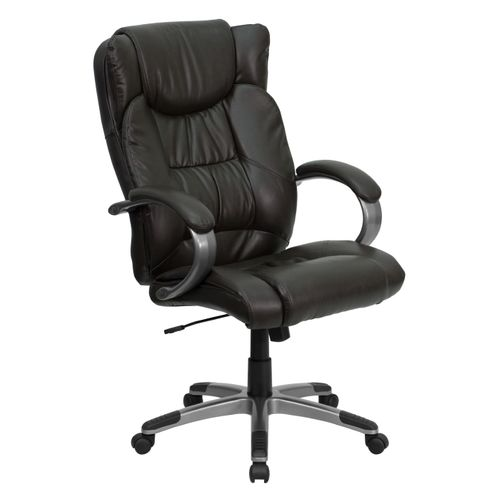 High Back Espresso Brown LeatherSoft Executive Swivel Office Chair with Titanium Nylon Base and Loop Arms