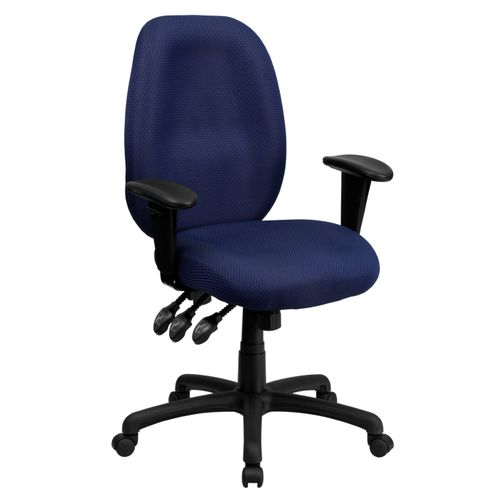 High Back Navy Fabric Multifunction Ergonomic Executive Swivel Office Chair with Adjustable Arms