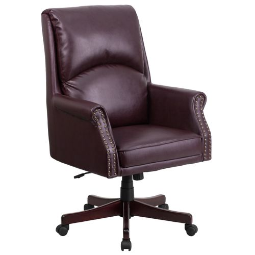 High Back Pillow Back Burgundy LeatherSoft Executive Swivel Office Chair with Arms