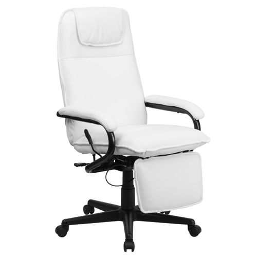 High Back White LeatherSoft Executive Reclining Ergonomic Swivel Office Chair with Arms