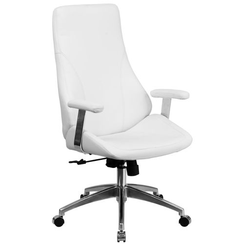 High Back White LeatherSoft Smooth Upholstered Executive Swivel Office Chair with Arms