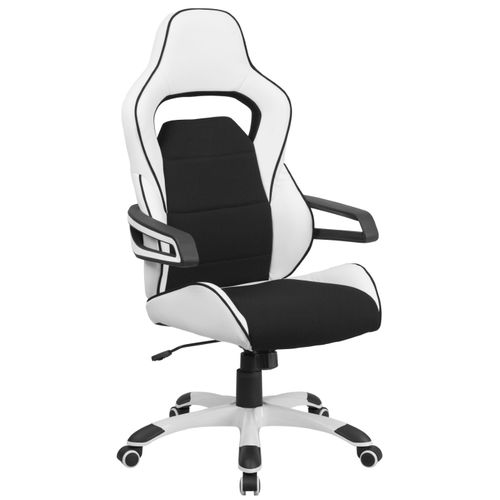 High Back White Vinyl Executive Swivel Office Chair with Black Fabric Inserts and Arms