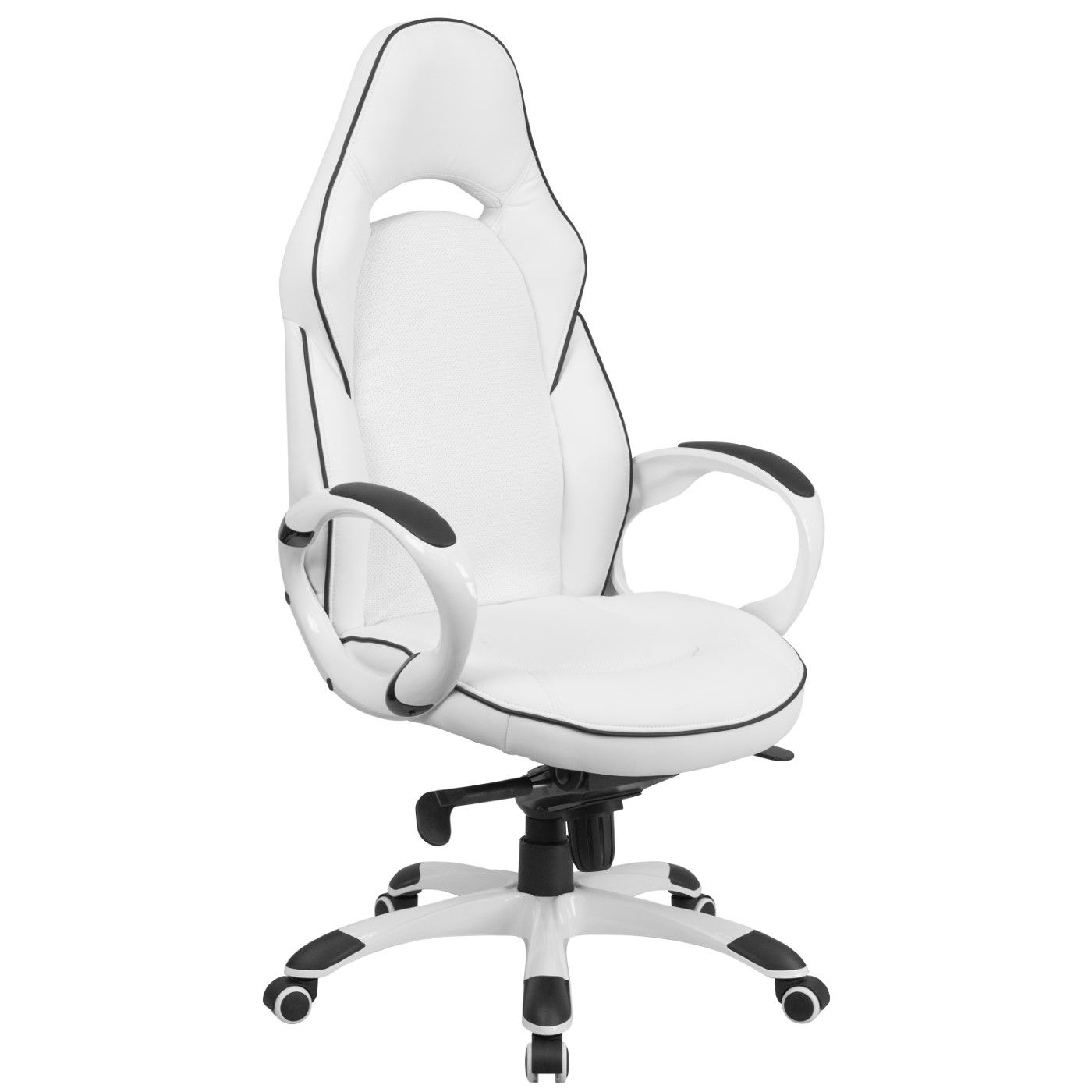 High Back White Vinyl Executive Swivel Office Chair with Black Trim and Arms