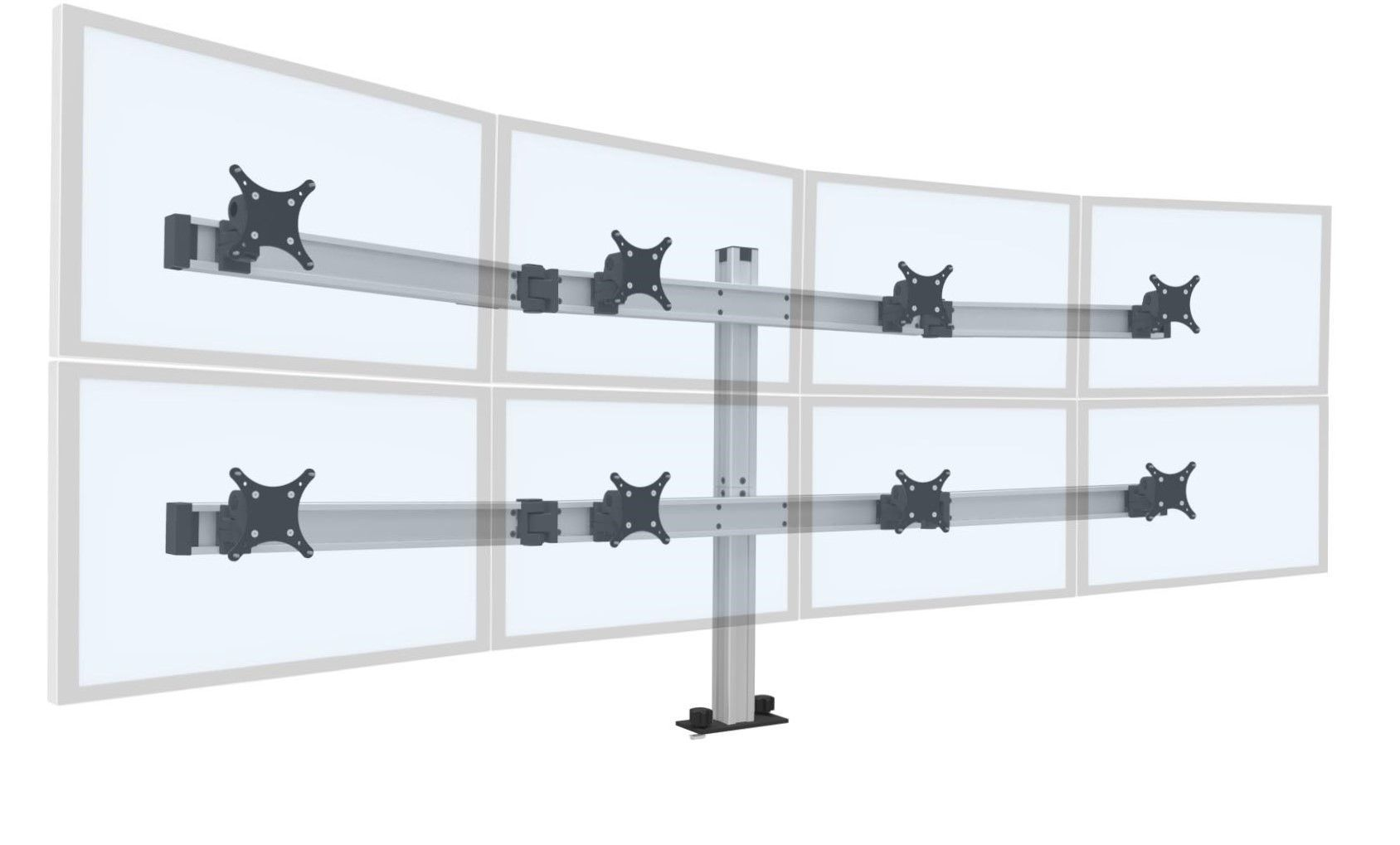 "INNOVATIVE BILD ADJUSTABLE MONITOR STAND #BILD-4OVER4 FOR A  TOTAL OF UP TO EIGHT 28"" MONITORS. VIDEO:<font color=#c60><b>ADD TO CART FOR FREE SHIPPING.</font></b> VIDEO BELOW. </b></font>"