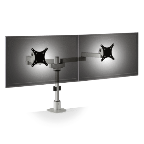 "DUAL MONITOR STAND #9163-S-14-FM. POSITION TWO 28"" MONITORS SIDE BY SIDE. ADD TO CART FOR FREE SHIPPING."